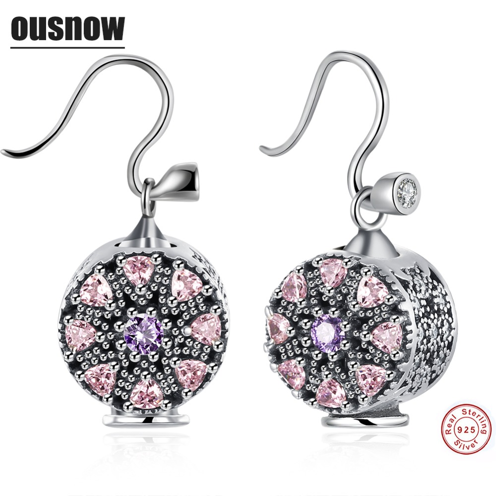 TOP Ousnow Classic Fashion Jewelery Womens Earrings 100% 925 Sterling Silver Round High Quality Lady Earrings Party Preferred