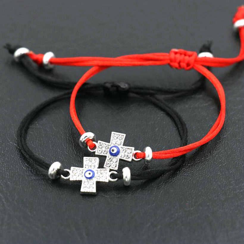 Kolor srebrny cyrkonia złe oko krzyże uroku bransoletki mężczyźni czerwona nić bransoletka sznurkowa dla kobiet pary kochanków prezent przynoszący szczęście
