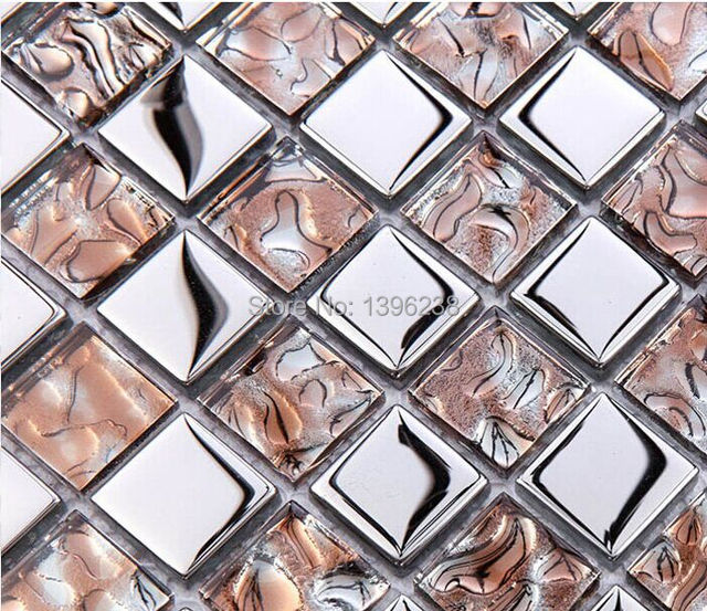 Galvanik Glas Gemischt Silber Diamant Spiegel Glasmosaik Aufkleber, Bad  Dusche Fliesen Küche Backsplash Tapete LSDD08