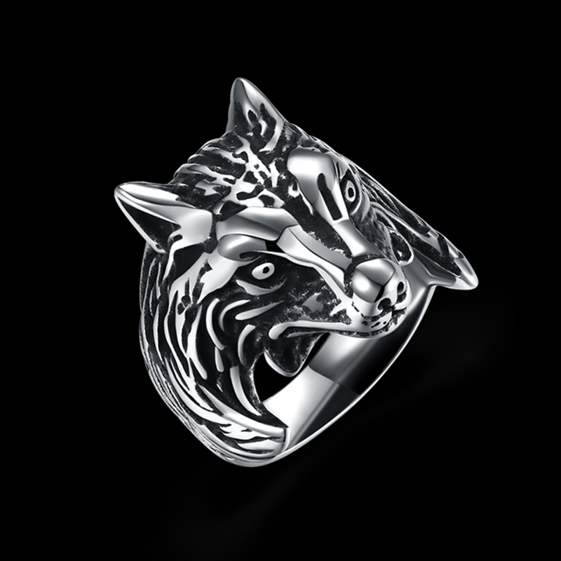 Punk Stainless Steel Wolf head Ring Big Size rings Retro Vintage Biker Large Antique Mens Rings For Seal men Rock mens Jewelry