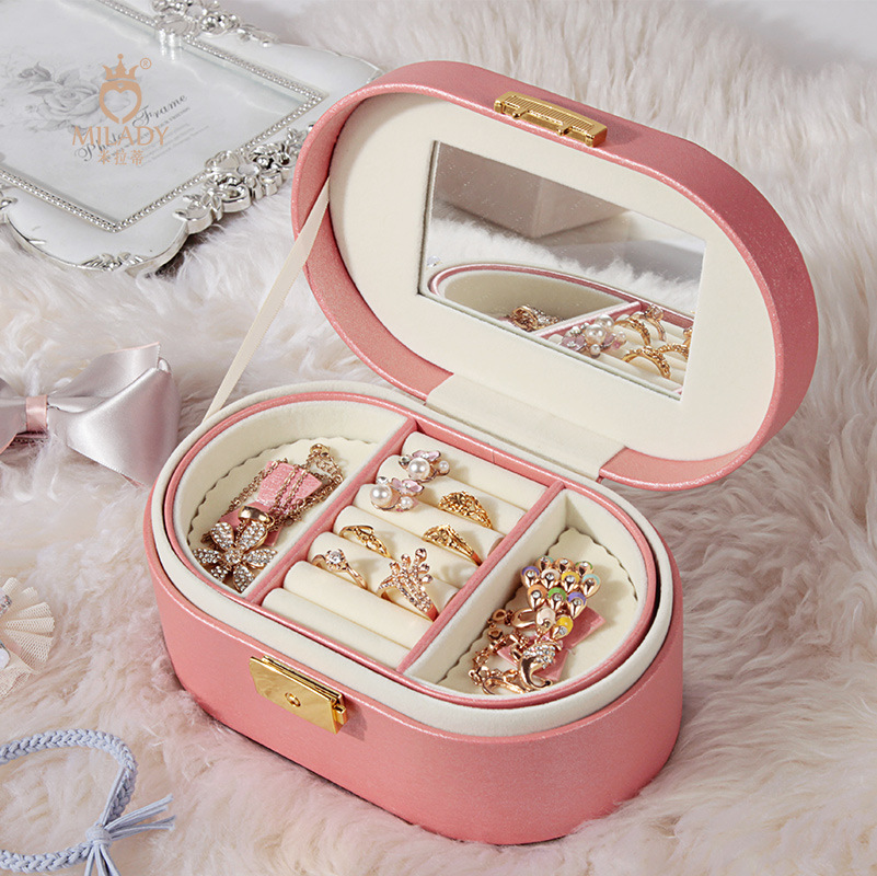 New Luxury Leather Jewelry Cases Mirror For WOmen Ladies Makeup Jewel Casket Two Layers Storage Carrying Case Jewel Box Gift jewel box