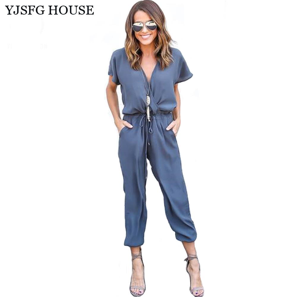 YJSFG HOUSE Short Sleeve Office Rompers Womens Jumpsuit Summer V Neck Tied Waist Sexy Party Playsuit