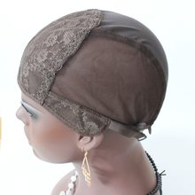 2 Pcs Brown color New Fishnet Mesh Wig Cap Stretchable Lace Wig Caps For Making Wigs With Adjustable Strap Bonnet Lace Perruque(China)