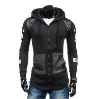 2017 Hoodies Men Sudaderas Hombre Hip Hop Mens Brand Letter Hooded Zipper Hoodie Sweatshirt Slim Stitching