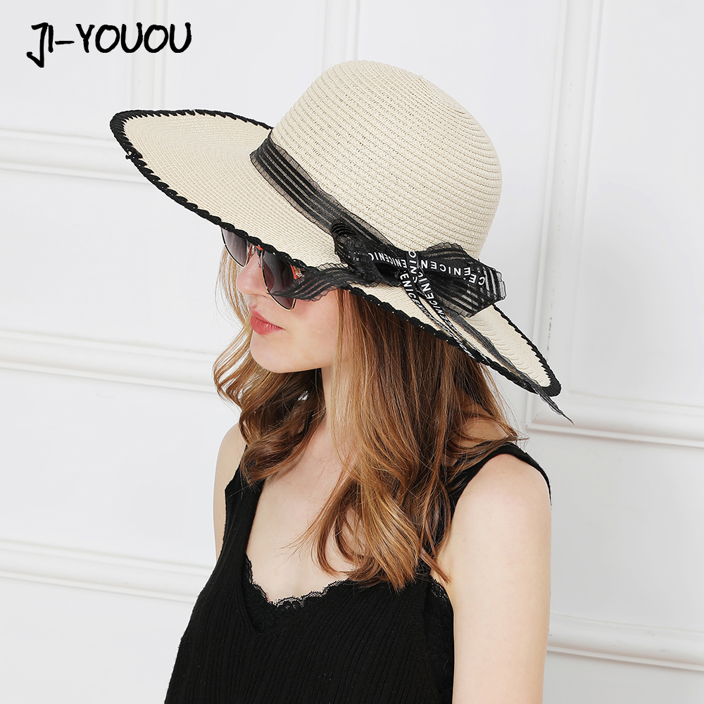 Straw Floral Sunshade Wide Brim Ribbon Bow Summer Beach Womens Hat