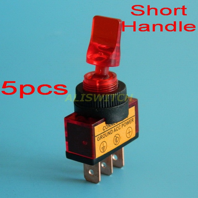 5pcs/lot Free Shipping Red led Toggle Switch ASW 14D On Off 12V DC ...