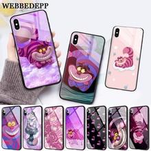 WEBBEDEPP Cheshire Cat Glass Phone Case for Apple iPhone XR X XS Max 6 6S 7 8 Plus 5 5S SE webbedepp hot red dead redemption 2 glass phone case for apple iphone xr x xs max 6 6s 7 8 plus 5 5s se