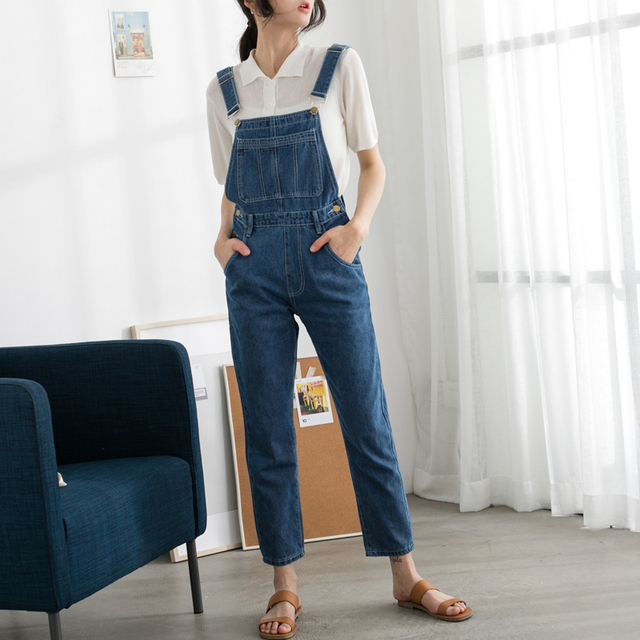 c4982e5fb8 US $31.75 |EGGKA 2018 Spring Summer Denim Jumpsuits Women Cotton Rompers  Trousers with braces Loose Ankle Length Wide leg Pants Female-in Jumpsuits  ...