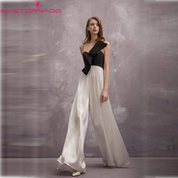 2018 Fashion bow white black block wide leg pant jumpsuit summer sleeveless casual work office party rompers bodysuit E7901