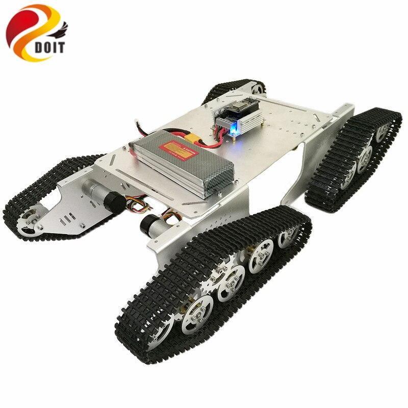 DOIT โลหะสมาร์ทถัง Chassis T900 พร้อม ESP8266 วิดีโอ WiFi รีโมทคอนโทรลเกียร์สำหรับ VR ยิง RC ถังของเล่น-ใน แทงก์ RC จาก ของเล่นและงานอดิเรก บน   1