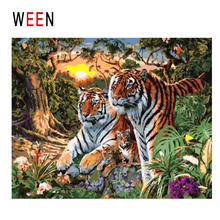 WEEN Sunrise Forest Diy Painting By Numbers Tiger Oil On Canvas Animal Cuadros Decoracion Acrylic Wall Art Home Decor