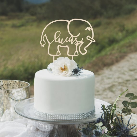 Sensational Personalised Name Elephant Birthday Cake Topper Party Gift Funny Birthday Cards Online Overcheapnameinfo