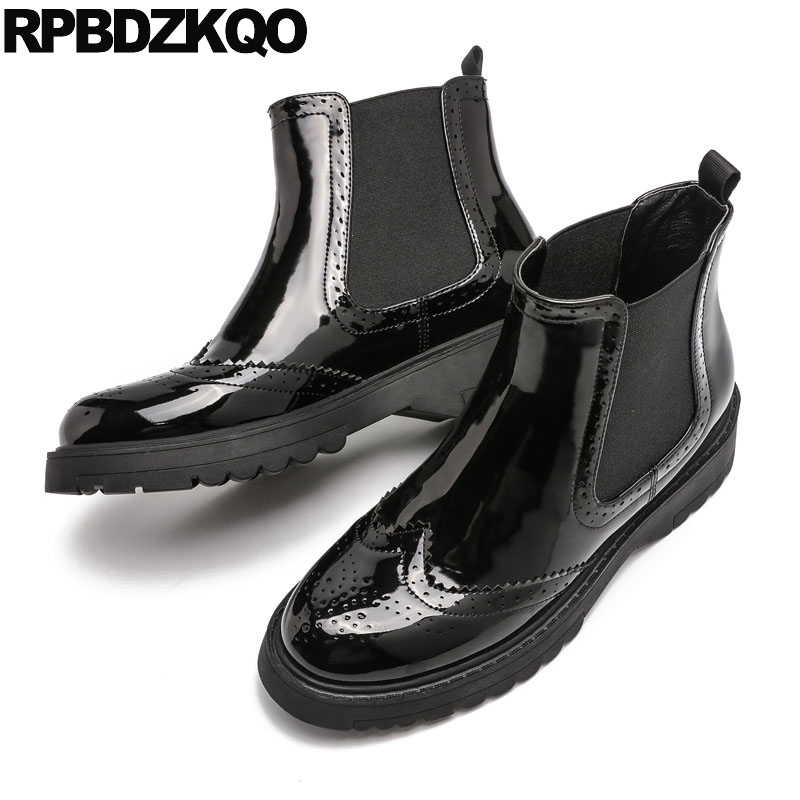 Patent Leather Women Boots Winter 2017 Brogue Platform Shoes Ankle Booties British Black Fall Slip On Chelsea Flat Chinese New fall flat black waterproof 2017 women shoes retro front lace up casual ankle boots autumn patent leather chunky booties vintage