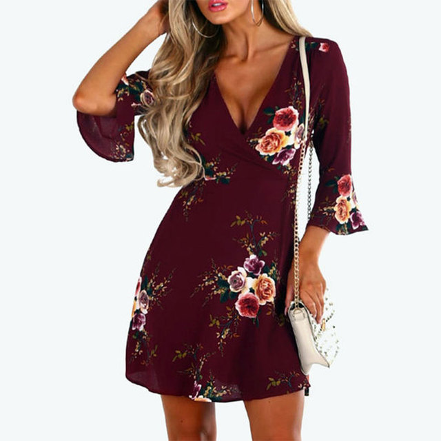 Fashion Retro Floral Print Summer Dress Women Flare Sleeve Sundress Vintage Ladies V Neck Evening Party Club Mini Dress
