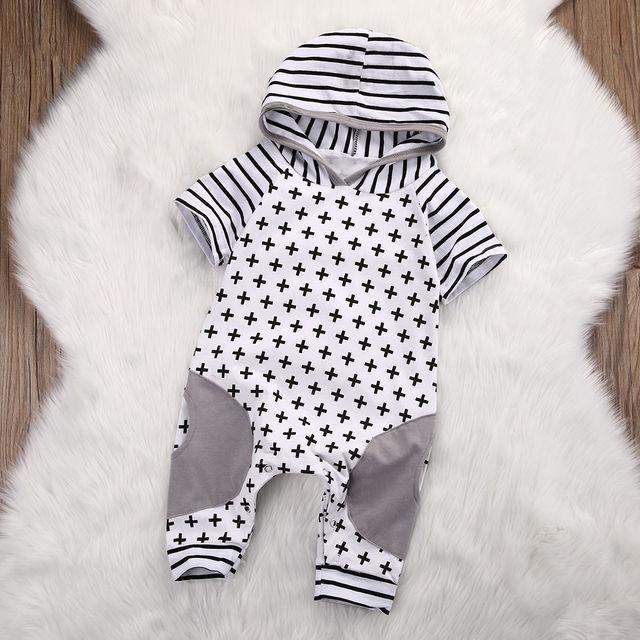 Bambino appena nato Delle Ragazze Del Ragazzo Dei Vestiti Con Cappuccio Pagliaccetto Croce Manica Corta Tuta Carino Abiti Neonati maschi Vestiti