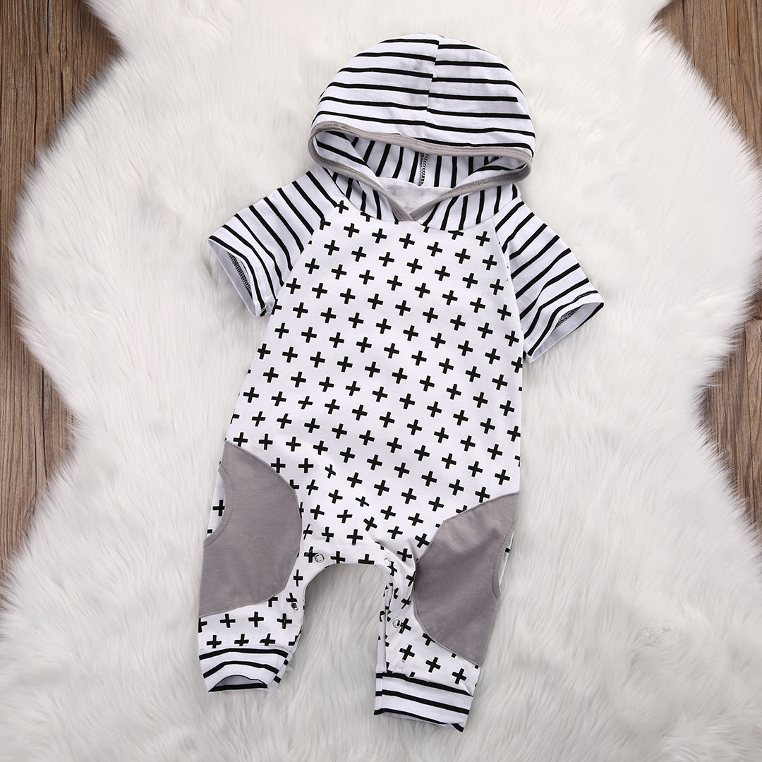 Newborn Baby Girls Boy Clothing Hooded Romper Cross Short Sleeve Jumpsuit Cute Outfits Baby Boys Clothes