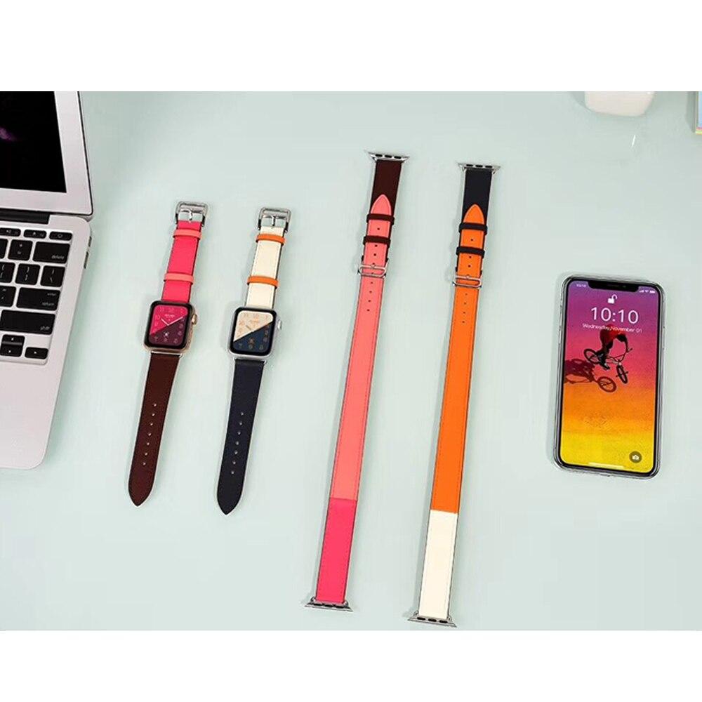 Correa de cuero genuino para apple watch banda 42/38/44/40mm iwatch serie 4 3 2 1 correa simple tour cinturón reloj Accesorios