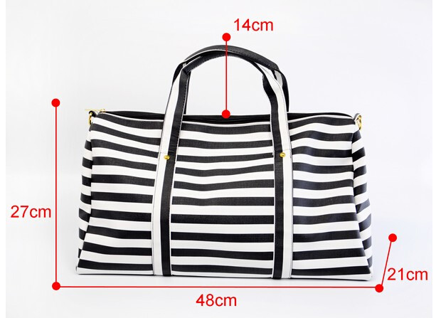 Women Travel Bags Large Capacity Folding Luggage Travel Handbags Duffle Bag Pu Leather Waterproof Stripe Shoulder Bag