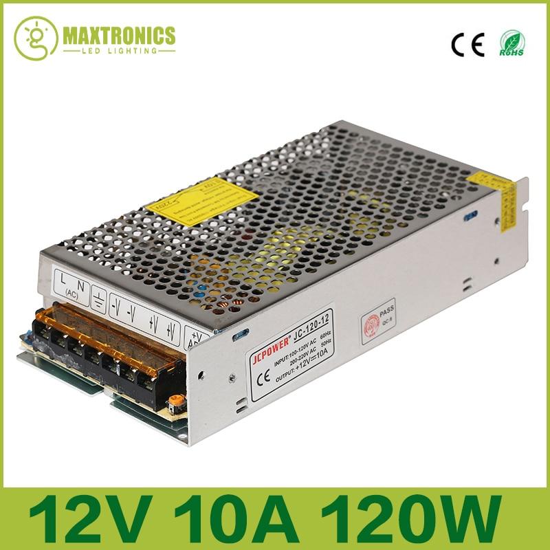 цена на DC12V 10A 120W Universal Regulated Switching Power Supply Transformer For 5050 3528 3014 ws2811 LED Light Strip CCTV PSU