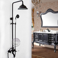 Wall mounted three handles bathtub shower faucets with 2 shower heads.Clawfoot Bathroom tub shower faucets with slide bar YN 705