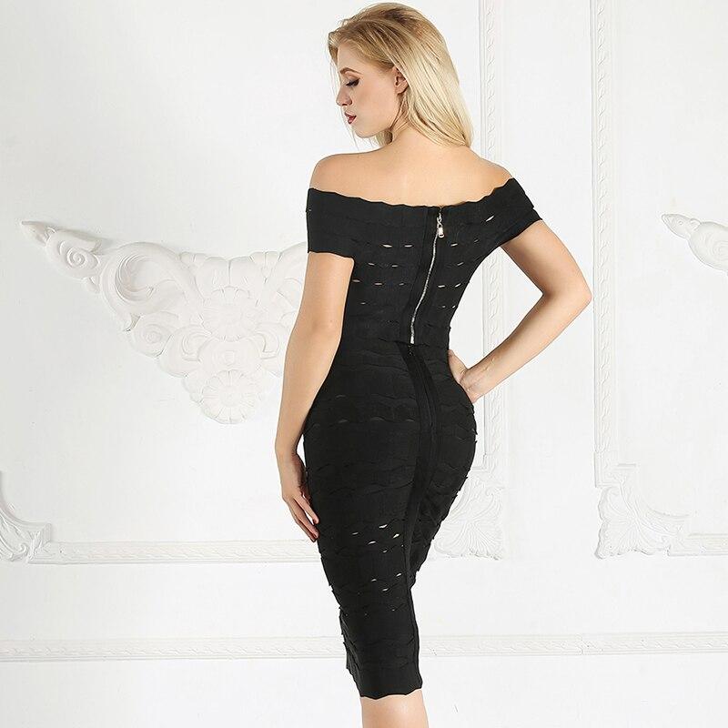 Creux Robes blanc Off D'été Blanc 2018 Noir Crayon Femmes Sexy Party Noir Sur Bandage Robe Épaule Moulante Midi Zw1zq