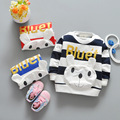 2017 Spring Autumn Casual Baby Infant Cartoon dog  Large stripes boys Cotton Long Sleeve o-neck T-shirt Tops S4691
