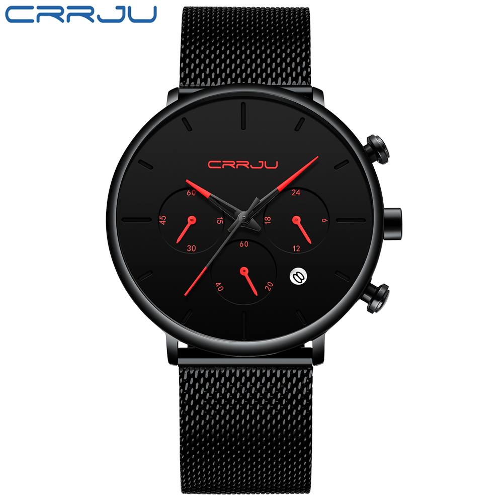 Relogio Masculino CRRJU Mens Business Dress Watches Luxury Casual Waterproof Sport Watch Men 3-Sub Dial Quartz Slim Mesh Watch