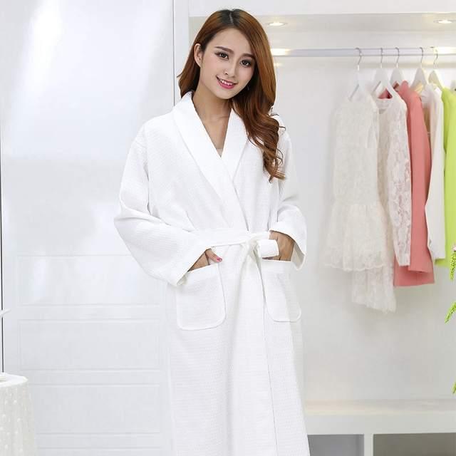 bc36944e66 Waffle cotton bathrobe men xxl pajamas women nightgown ladies girls home  hotel white soft long cool