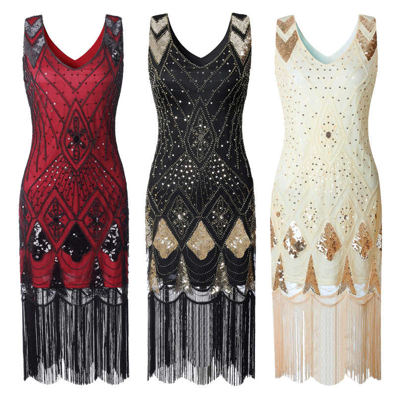 4832d625739 ... Vintage Women Plus Size Great Gatsby Dress Sleeveless V Neck 1920s  Flapper Dress Cocktail Party Fringed ...