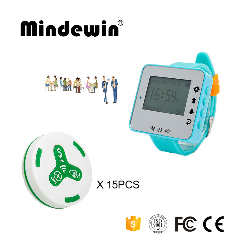 433MHz Restaurant Pager Wireless Calling System 15PCS Table Call Button M-K-3 + 1PCS Watch Pager M-W-1 Restaurant Pagers service call bell pager system 4pcs of wrist watch receiver and 20pcs table buzzer button with single key