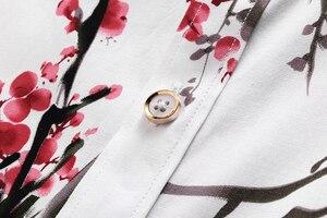 Image 4 - LONMMY 6XL 7XL koszula hawajska mężczyźni kwiecista długa rękaw koszule męskie sukienka 65% bawełna casual slim fit Blusas masculina kwiat nowy