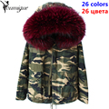 YOUMIGUE Parkas For Women Winter Camouflage Coat Real Raccoon Fur Collar Thicken fox fur lining Jacket Outerwear Female Brand
