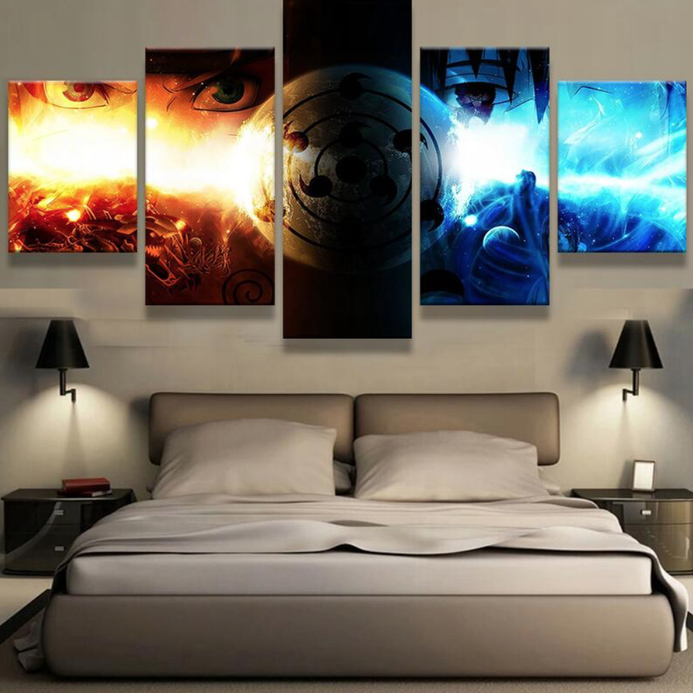 5 Panel Canvas Painting Sasuke Vs Naruto Wall Art Home
