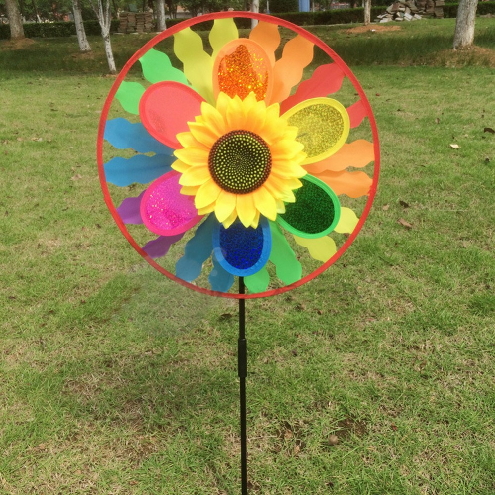 Sunflower Windmill Wind Spinner Rainbow Whirligig Wheel For Home Lawn Yard Decor Toy Gift For Boys Girls Baby