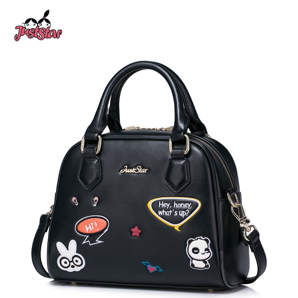 JUST STAR Women's PU Leather Handbags Ladies Fashion Embroidery Cartoon Tote Bag