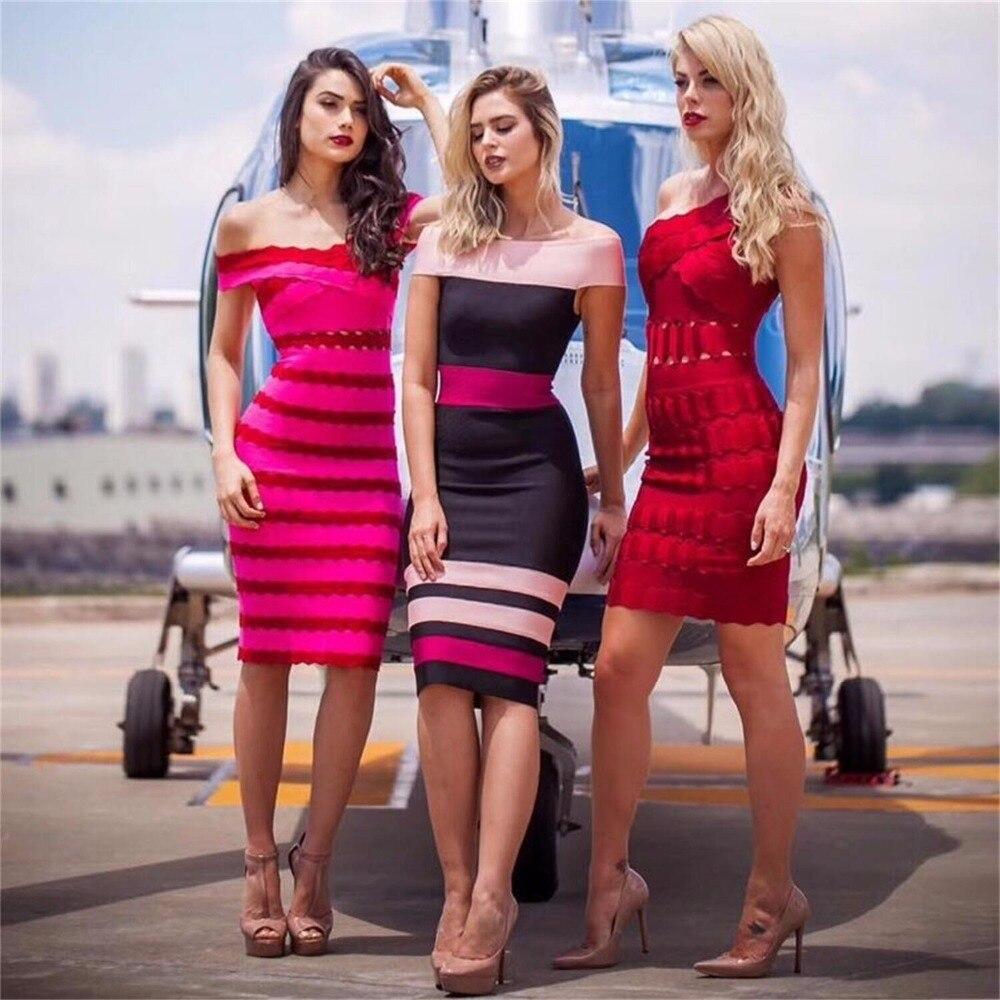 2018 الوافدين الجدد الصيف النساء اللباس الجملة الوردي و النبيذ الأحمر قبالة الكتف الصليب الجبهة ضمادة اللباس حزب اللباس اللباس + دعوى-في بِدَل من ملابس نسائية على  مجموعة 1