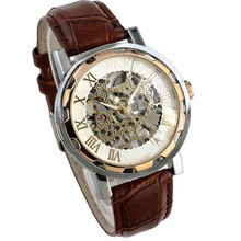 Лидер продаж 2017 года удивительные практические мудрый Популярные и классическая роскошь Ман кожаный ремешок из нержавеющей Скелет Механические наручные часы