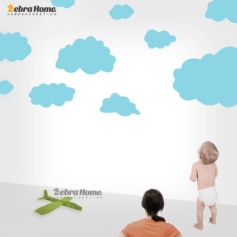 €7.89 10% de réduction|Chaud bande dessinée nuage Stickers muraux pour  enfants chambre bébé Stickers muraux amovible mignon décoration de la  maison ...