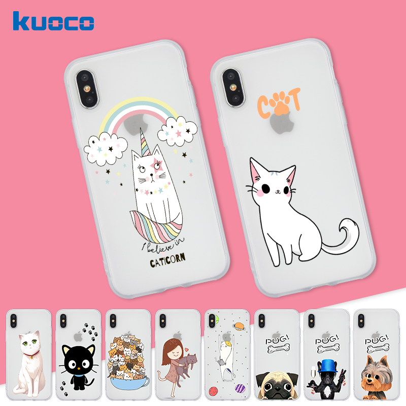 Soft TPU Case For iphone 7 8 plus 5c 5s SE Cartoon Cats Dogs Pattern UltraThin Scrub Silicone Phone Cases For iphone 6 6S Plus X