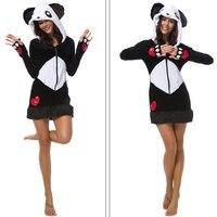 Sexy Plush Costume Set Women Giant Panda Cosplay Winter Hoodie Thumb Hole Female Warmer Mini Party Dress for Halloween Christmas