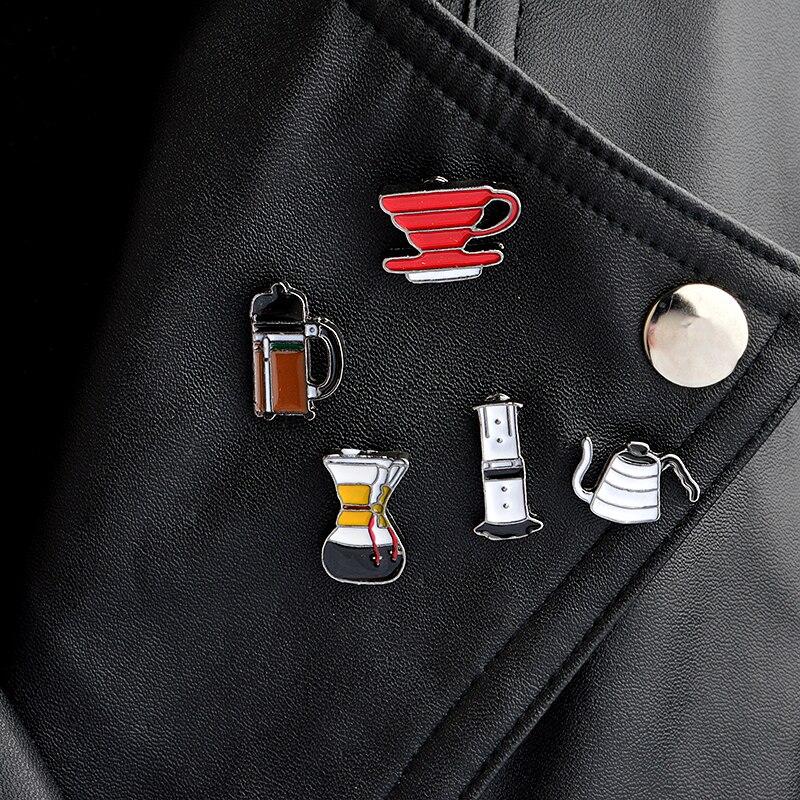 5pcs/set American coffee Aero Press Chemex Filter cup Brooch Collar Corsage Shirt bag cap Jacket Pin Badge Fashion Gift