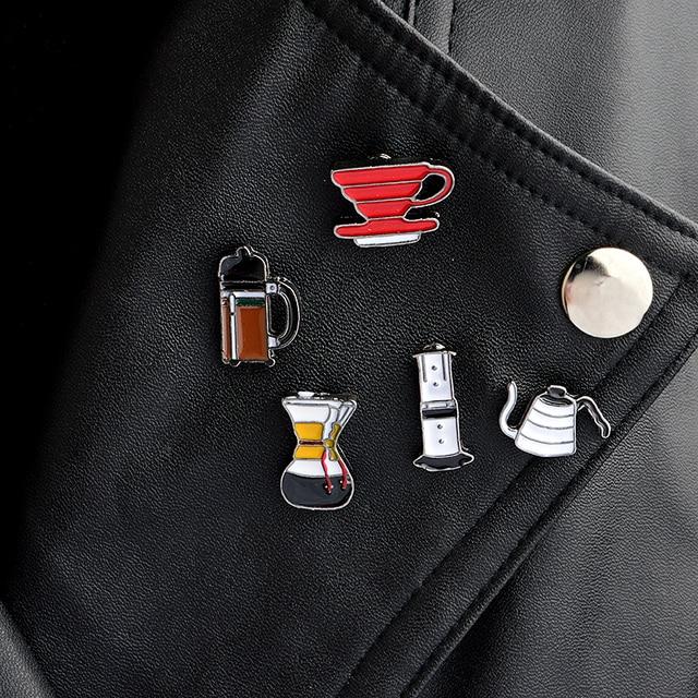 5pcs/set American coffee Aero Press Chemex Filter cup Brooch Collar Corsage Shir