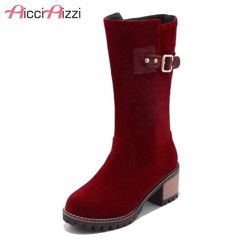 ZALAVOR Size34-43 femmes mi-mollet bottes à talons hauts femmes en métal demi bottes courtes avec des chaussures de fourrure chaude bottes d'hiver femme