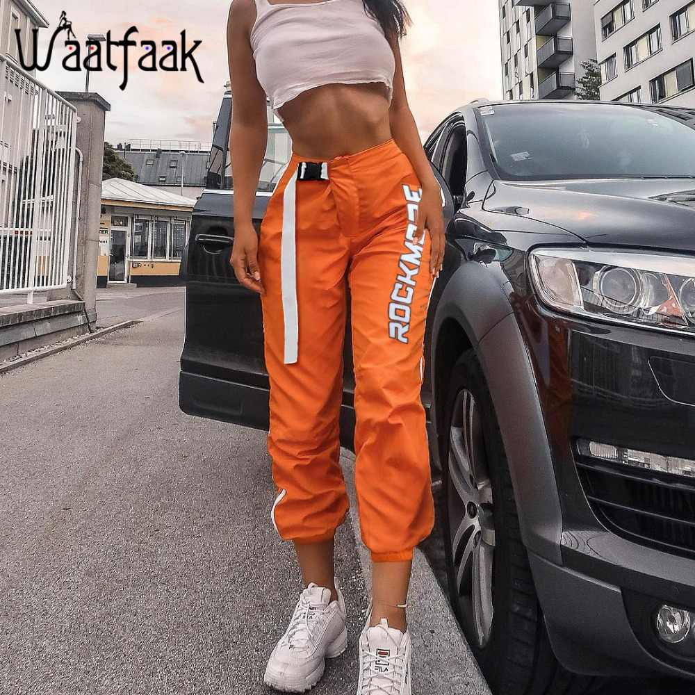 Waatfaak Kasual Patchwork Tinggi Pinggang Celana Pensil Sabuk Gesper Celana Wanita Oranye Saku Ritsleting Celana Olahraga dan Lari Kebugaran