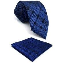 Лучший!  E22 Темно-синие клетчатые галстуки в клетку для мужчин с бантами и галстуком Лучший!