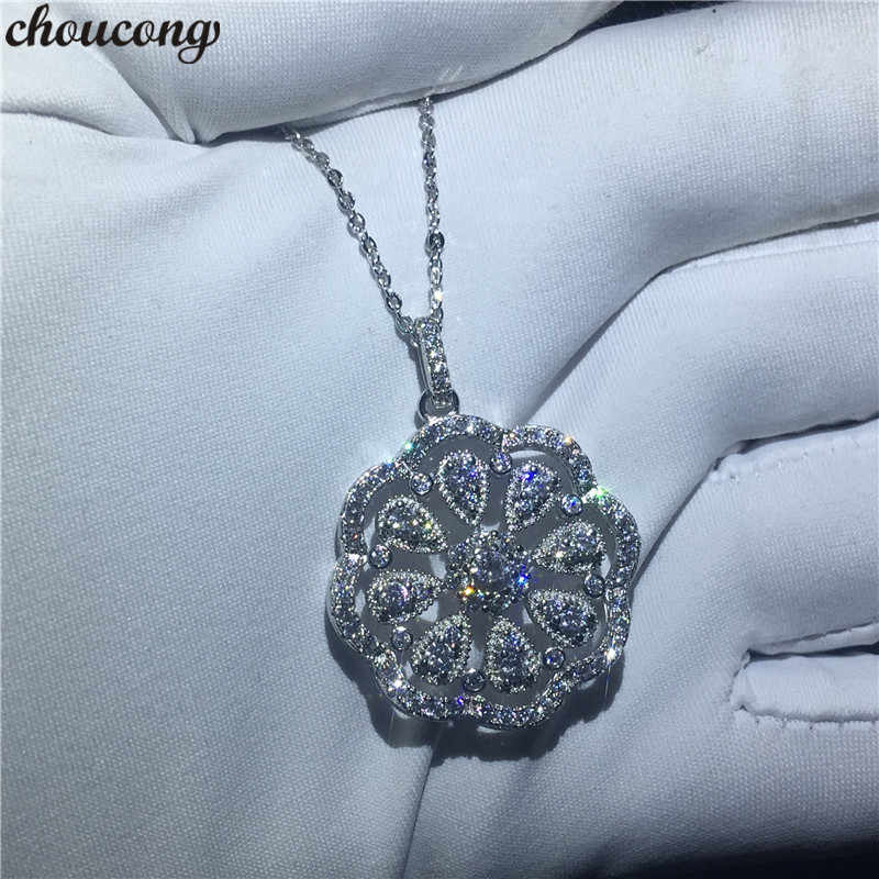 choucong Art Flower shape Pendants 5A Zircon Cz Real 925 Sterling silver Wedding Pendant with Necklace for women Bridal jewelry