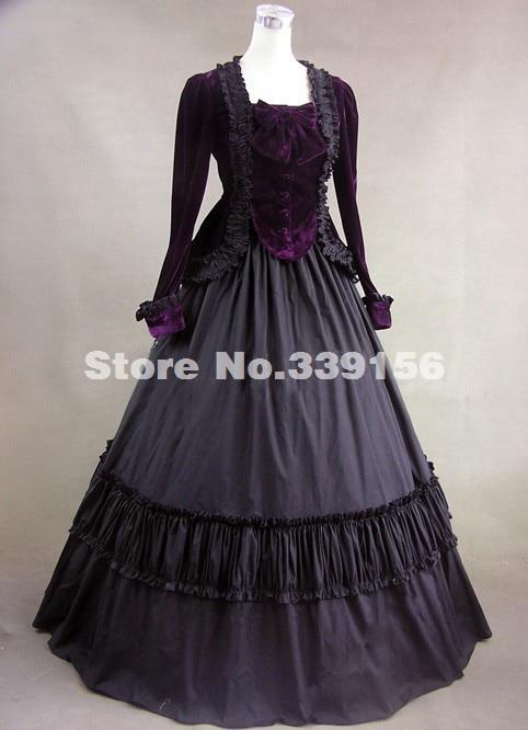 Halloween Civil War Velvet Period Dress Jacket Gown 18th Century Renaissance Medieval Gothic Dress Theatrical Costume 2-PC