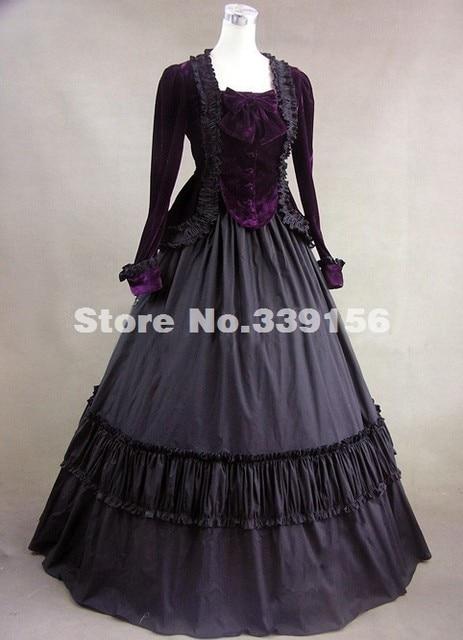 Halloween Civil War Velvet Period Dress Jacket Gown 18th Century Renaissance  Medieval Gothic Dress Theatrical Costume