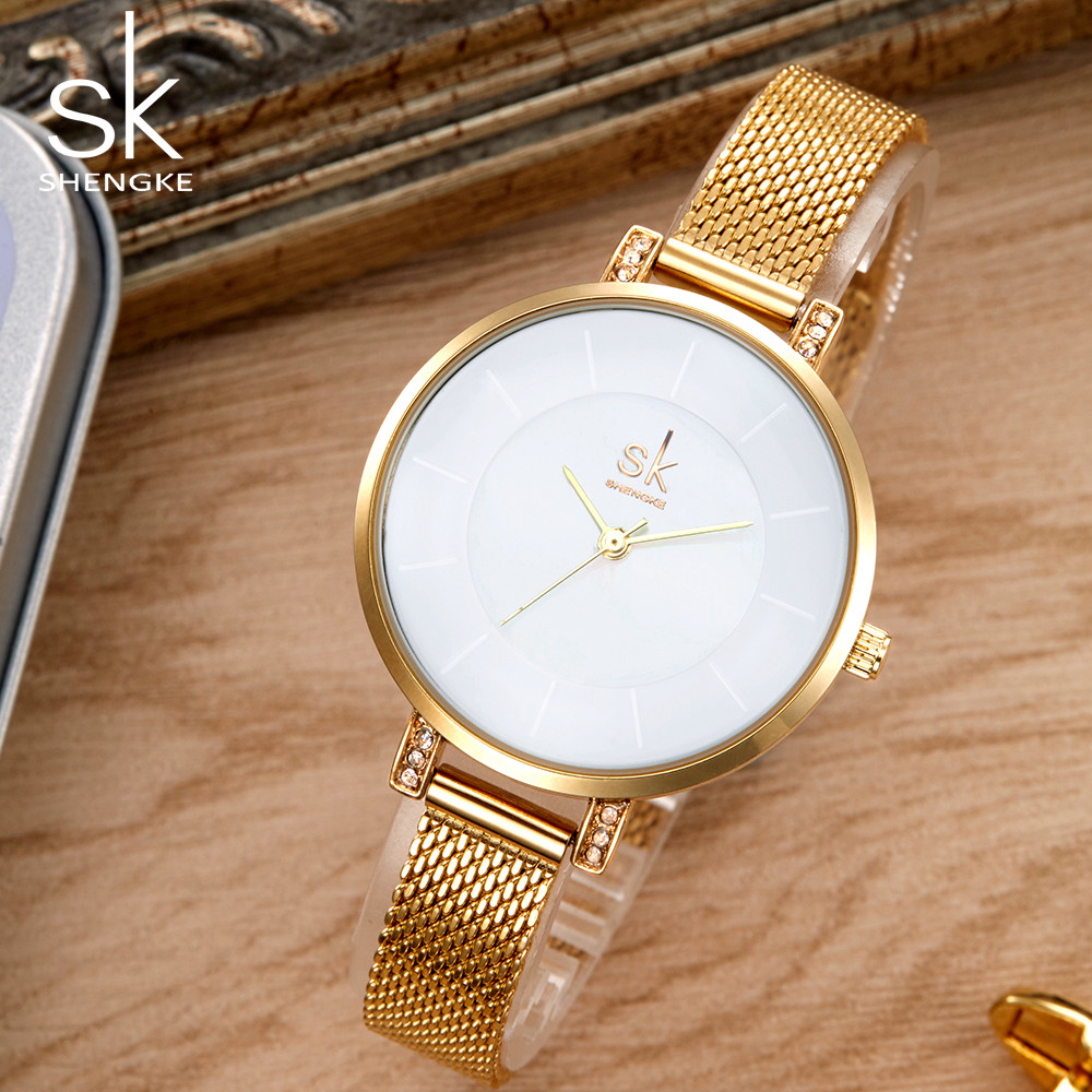 Shengke Top Brand Luxury Women Watch Fashion Steel Quartz Watches Ladies Gold Simple Style Casual Wristwatch Elegant Relojes SK object desire банкетка с корзиной монсоро