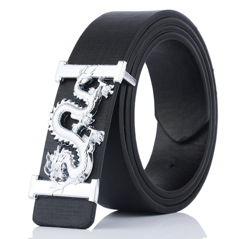 KAWEIDA Fashion Man 2018 Luxury Silver Chinese Dragon Smooth Buckle Belt Designer Belts For Men PU Leather Belt Presents For Men